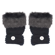 Winter Fingerless black Gloves 20mm Snap Button Fashion Accessories Charms Jewelry For Women Teenagers Girl Christmas Gift