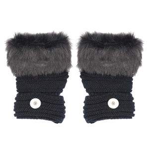 Guantes negros sin dedos de invierno 20mm Botón a presión Accesorios de moda Encantos Joyas Para mujeres Adolescentes Chica Regalo de Navidad