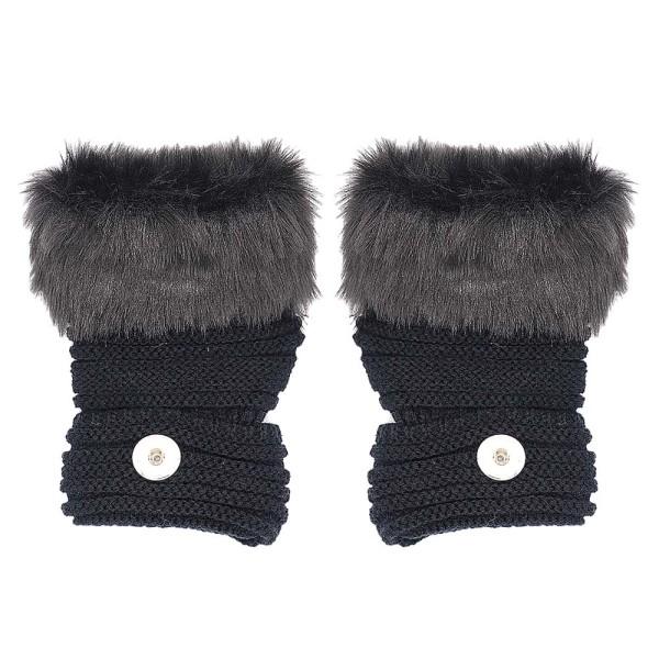 Winter Fingerlose schwarze Handschuhe 20mm Druckknopf Mode-accessoires Charms Schmuck Für Frauen Jugendliche Mädchen Weihnachtsgeschenk