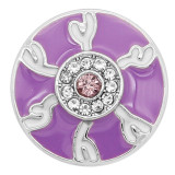 Mousqueton œil de diable 20MM plaqué argent avec strass et émail violet KC8196 s'enclenche bijou
