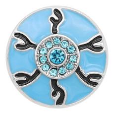20MM Broche de ojo de diablo plateado con diamantes de imitación azules y esmalte azul KC8198 se ajusta a presión