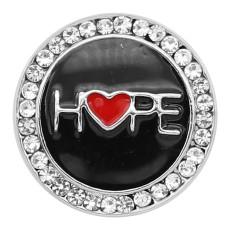 20MM Hope snap Plateado con diamantes de imitación y esmalte negro KC8199 se ajusta a presión