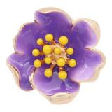 20MM snap gold Plated Flowers avec émail violet KC8202 s'enclenche de manière joaillière