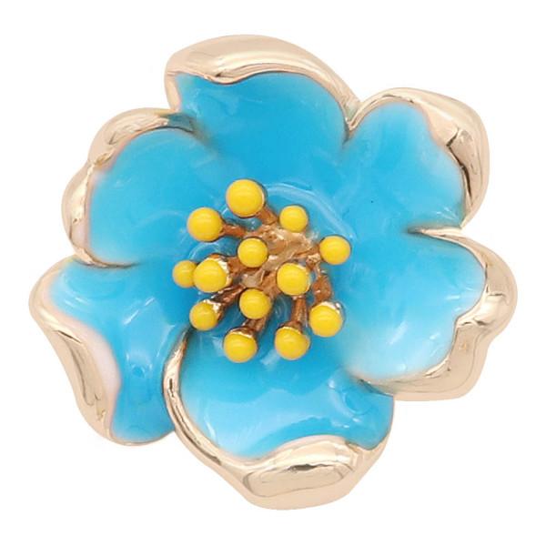 20MM snap gold Plated Flowers avec émail bleu KC8200 s'enclenche dans les bijoux