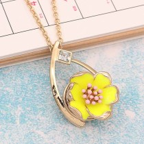 20MM snap gold Plated  Flowers with yellow enamel KC8203 snaps jewerly