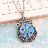 20MM Devil's eye snap Silver Plated With blue rhinestones and blue enamel KC8198 snaps jewerly