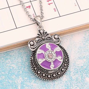 20MM Devil's eye snap Silver Plated With rhinestones and Purple enamel KC8196 snaps jewerly