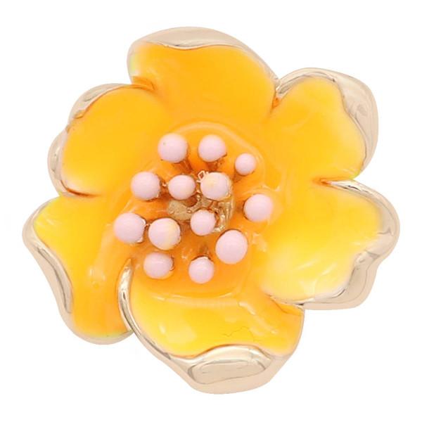 20MM snap gold Plated Flowers avec émail orange KC8201 s'enclenche avec bijoux
