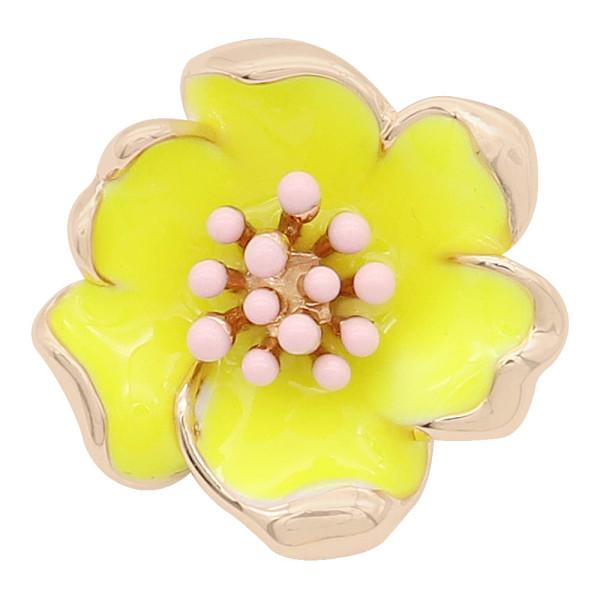 20MM snap gold Plated Flowers avec émail jaune KC8203 s'enclenche par un bijou