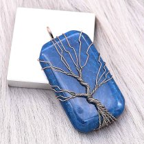Natural stone-agate Tree of life copper Pendant of necklace