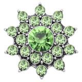 20MM snap Silver Plated Avec des breloques en strass verts KC8185 s'enclenche de manière joaillière