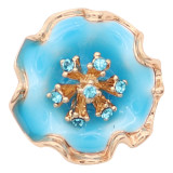 20MM snap gold Plated  Flowers with blue enamel and  rhinestone KC8212 snaps jewerly