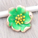 20MM Snap Gold Plated Flowers mit grüner Emaille KC8205 Snaps Jewerly