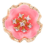 20MM snap gold Plated  Flowers with enamel and pink rhinestone KC8211