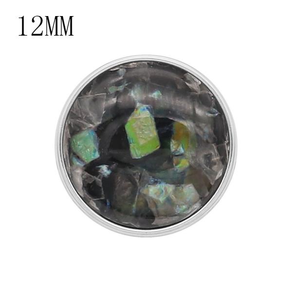 12MM snap Silver Plated Avec des breloques en coquillage noir KS7156-S s'enclenche de manière joaillière