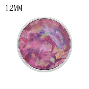 12MM snap Silver Plated With purple Shell charms KS7155-S snaps jewerly