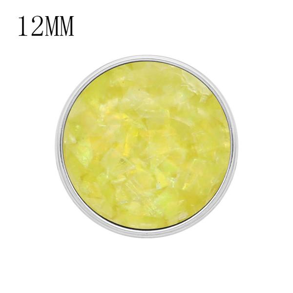 Защелка 12MM посеребренная с желтыми подвесками Shell KS7163-S защелкивается ювелирно