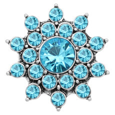 20MM snap Silver Plated With Light Blue rhinestones charms KC8183 snaps jewerly