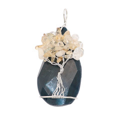 Ágata de piedra natural (Corte y pulido liso) Árbol de la vida cobre Colgante de collar