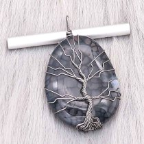 Naturstein-Achat Baum des Lebens Kupfer Anhänger der Halskette Nacht Dark Forest