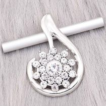 20MM design snap Silver Plated With white rhinestones charms KC8182 snaps jewerly