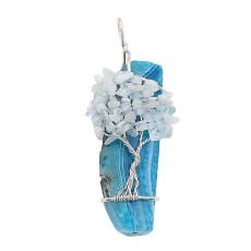 Ágata de piedra natural Árbol de la vida cobre Colgante de collar Blue Sky
