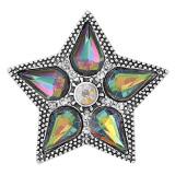 20MM Broche de estrella de cinco puntas Plateado con encantos de cristal KC9349 se ajusta a presión