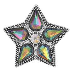 20MM Fünfzackiger Sternverschluss Versilbert Mit Kristallanhänger KC9349 schnappt edel