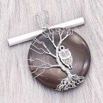 Naturstein-Achat Baum des Lebens Kupfer Anhänger der Halskette Eulen in der dunklen Nacht