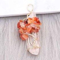 Cristal natural Árbol de la vida Colgante de collar Marrón