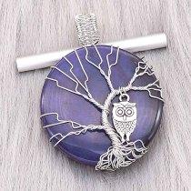Ágata de piedra natural Árbol de la vida de cobre Colgante de collar Búhos en la noche azul oscura