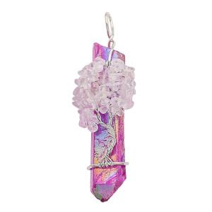 Naturstein-Achat Lebensbaum Kupfer Anhänger Halskette Purple fire