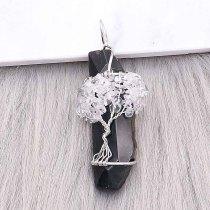 Ágata de piedra natural Árbol de la vida Colgante de collar Blanco y negro