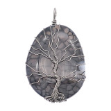 Pierre naturelle-agate arbre de vie cuivre pendentif de collier nuit sombre forêt