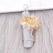 Ágata de piedra natural Árbol de la vida cobre Colgante de collar Diamante amarillo