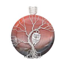 Ágata de piedra natural Árbol de la vida cobre Colgante de collar Búhos en la noche