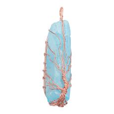 Cristal natural Árbol de la vida cobre Colgante de collar Azul claro