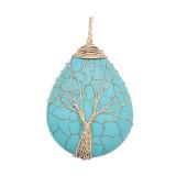 Turquoise Tree of Life Pendentif bleu mode style bijoux design deux