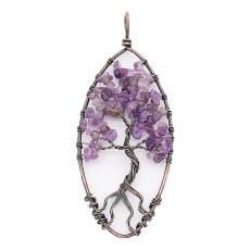 Ágata de piedra natural Árbol de la vida de cobre Colgante de collar (sin cadena) joyería de estilo de moda