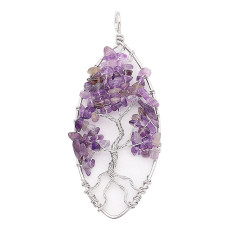 Natural stone-agate Tree of family  Pendant of necklace Light Purple