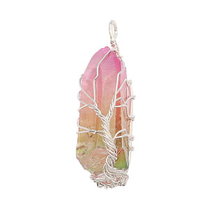 Natural Crystal Tree of life copper Pendant of necklace Colorful Pink