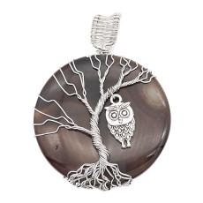 Ágata de piedra natural Árbol de la vida cobre Colgante de collar Búhos en la noche oscura