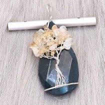 Naturstein-Achat (Geschliffen und poliert) Baum des Lebens Kupfer Anhänger der Halskette