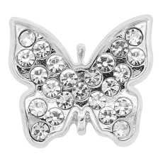 20MM Butterfly snap Silver Plated With white rhinestones charms KC8213 snaps jewerly