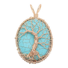 Türkis Baum des Lebens Anhänger blau