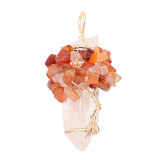 Natural Crystal Tree of life  Pendant of necklace Brown