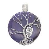 Agate de pierre naturelle Arbre de vie en cuivre Pendentif de collier Chouettes dans la nuit bleu foncé