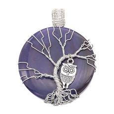 Naturstein-Achat Lebensbaum Kupfer Anhänger Halskette Eulen in der dunkelblauen Nacht