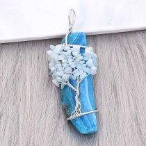 Naturstein-Achat Lebensbaum Kupfer Anhänger Halskette Blue Sky