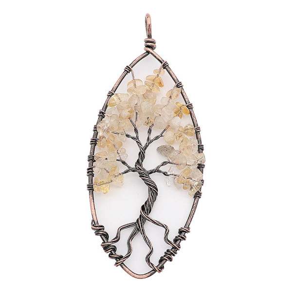 Pierre naturelle-agate arbre de vie cuivre pendentif de collier (sans chaîne) bijoux de mode